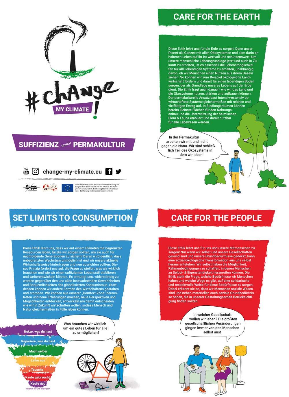 Poster Permakulturethiken #ChangeMyClimate